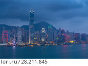 Купить «Evening International Commerce Centre with illumination, sea shore, mountains and ships in Hong Kong, China, view from Starhouse», фото № 28211845, снято 5 сентября 2015 г. (c) Losevsky Pavel / Фотобанк Лори