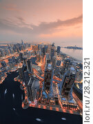 Купить «Dubai Marina area during sunset, in Dubai, United Arab Emirates, aerial view», фото № 28212321, снято 20 января 2017 г. (c) Losevsky Pavel / Фотобанк Лори