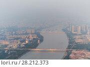 Купить «Bridges over Zhujiang river among fog in Guangzhou city, China, top view», фото № 28212373, снято 21 августа 2015 г. (c) Losevsky Pavel / Фотобанк Лори