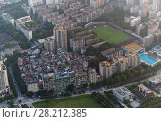 Купить «Residential area, football field in Guangzhou city, China, aerial view», фото № 28212385, снято 21 августа 2015 г. (c) Losevsky Pavel / Фотобанк Лори