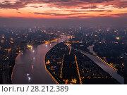 Купить «Guangzhou city, Zhujiang river during beautiful sunset, China, aerial view», фото № 28212389, снято 21 августа 2015 г. (c) Losevsky Pavel / Фотобанк Лори