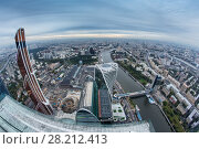 MOSCOW - SEP 3, 2014: Futuristic Moscow International Business Center and Bagration bridge. Years of construction of complex - 1995-2018. Редакционное фото, фотограф Losevsky Pavel / Фотобанк Лори