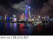 Купить «Shanghai pudong lujiazui skyscrapers at dark night and river in China», фото № 28212421, снято 11 августа 2015 г. (c) Losevsky Pavel / Фотобанк Лори