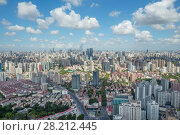 Купить «Beautiful panorama of big Shanghai city with skyscrapers at sunny summer day», фото № 28212445, снято 8 августа 2015 г. (c) Losevsky Pavel / Фотобанк Лори