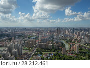 Купить «Beautiful panorama of Shanghai city with skyscrapers at sunny summer day», фото № 28212461, снято 8 августа 2015 г. (c) Losevsky Pavel / Фотобанк Лори