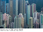 Купить «Residential buildings in sleeping area near mountain in Hong Kong, China, view from China Merchants Tower», фото № 28212501, снято 30 августа 2016 г. (c) Losevsky Pavel / Фотобанк Лори