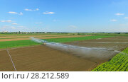 Купить «Tractor moves pouring system across farm field at summer sunny day. Aerial view», фото № 28212589, снято 26 марта 2019 г. (c) Losevsky Pavel / Фотобанк Лори