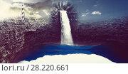 Купить «Waterfall in the void and stone», фото № 28220661, снято 24 августа 2019 г. (c) Wavebreak Media / Фотобанк Лори