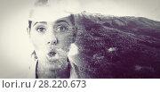 Купить «Composite image of mountain slope covered with green forest during winter», фото № 28220673, снято 27 марта 2019 г. (c) Wavebreak Media / Фотобанк Лори