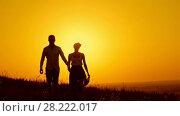 Купить «Loving couple - young man and beautiful girl walking at sunset meadow - silhouette, slow-motion», видеоролик № 28222017, снято 23 июля 2018 г. (c) Константин Шишкин / Фотобанк Лори