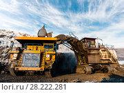 Купить «Large quarry dump truck. Loading the rock in dumper. Loading coal into body truck. Production useful minerals. Mining truck mining machinery, to transport coal from open-pit as the Coal Production.», фото № 28222281, снято 30 января 2018 г. (c) Сергей Тимофеев / Фотобанк Лори