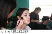 Купить «Make up artist doing professional make-up lips», видеоролик № 28222329, снято 17 августа 2018 г. (c) Константин Шишкин / Фотобанк Лори