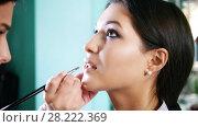 Купить «Make up artist doing professional make-up lips for attractive young model», видеоролик № 28222369, снято 17 августа 2018 г. (c) Константин Шишкин / Фотобанк Лори