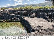 Купить «Artificial beach and safe place for swimming on Atlantic coast, Pico island, Azores», фото № 28222397, снято 2 мая 2012 г. (c) Юлия Бабкина / Фотобанк Лори