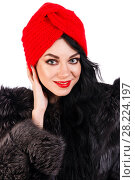 Купить «Pretty young woman in a black fur coat and turban», фото № 28224197, снято 28 января 2018 г. (c) Art Konovalov / Фотобанк Лори
