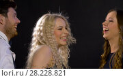 Купить «happy friends dancing at party or disco», видеоролик № 28228821, снято 7 марта 2018 г. (c) Syda Productions / Фотобанк Лори