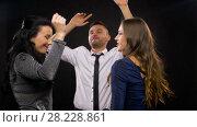 Купить «happy friends dancing at party or disco», видеоролик № 28228861, снято 7 марта 2018 г. (c) Syda Productions / Фотобанк Лори