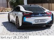 Купить «i8 hybrid sports car developed by BMW», фото № 28235061, снято 17 марта 2018 г. (c) EugeneSergeev / Фотобанк Лори