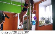 Купить «Young woman in tight-fitting clothes spinning on a pole in a studio», видеоролик № 28238301, снято 18 августа 2019 г. (c) Константин Шишкин / Фотобанк Лори