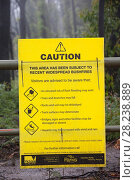 Купить «Warning Sign in burnt forest near  Kinglake, one of the communities worst affected by the catastrophic 2009 Australian Bush Fires in the state of Victoria...», фото № 28238889, снято 16 августа 2018 г. (c) Nature Picture Library / Фотобанк Лори