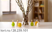 Купить «willow and candles in shape of easter eggs at home», видеоролик № 28239101, снято 28 марта 2018 г. (c) Syda Productions / Фотобанк Лори