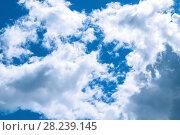 Купить «Sky landscape of cloudy sky. Blue sky background with white dramatic clouds and sunlight», фото № 28239145, снято 5 июня 2015 г. (c) Зезелина Марина / Фотобанк Лори