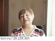 Купить «Smiling senior woman at home - portrait», фото № 28239301, снято 25 марта 2018 г. (c) Константин Шишкин / Фотобанк Лори