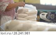 Купить «Worker packing bags with crystal sugar at the sugar factory», видеоролик № 28241981, снято 21 июля 2018 г. (c) Константин Шишкин / Фотобанк Лори
