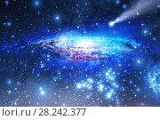 Купить «Stars and galaxy space sky night background», иллюстрация № 28242377 (c) Евгений Ткачёв / Фотобанк Лори