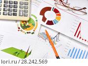 Купить «Графики, диаграммы, калькулятор и ручка. Бизнес-натюрморт», эксклюзивное фото № 28242569, снято 30 марта 2018 г. (c) Юрий Морозов / Фотобанк Лори