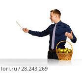 Купить «Businessman shows scheme of successful business», фото № 28243269, снято 15 апреля 2016 г. (c) Владимир Мельников / Фотобанк Лори