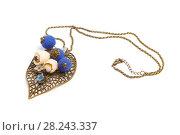Купить «Pendant handmade in the form of original blue balls and flowers on a metal leaf», фото № 28243337, снято 28 июля 2017 г. (c) Олег Белов / Фотобанк Лори