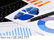 Купить «Калькулятор, графики, диаграммы, очки и ручка. Бизнес-натюрморт», эксклюзивное фото № 28243777, снято 30 марта 2018 г. (c) Юрий Морозов / Фотобанк Лори