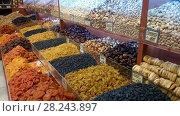 Купить «Dried fruits assortment», видеоролик № 28243897, снято 21 марта 2018 г. (c) Илья Шаматура / Фотобанк Лори