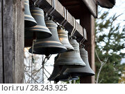 Купить «Row of Bells in Kazan maiden's monastery in Yaroslavl, Russia.», фото № 28243925, снято 26 марта 2016 г. (c) Володина Ольга / Фотобанк Лори
