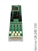 Купить «Electronic board with installed electronic components.», фото № 28245133, снято 19 октября 2017 г. (c) Андрей Радченко / Фотобанк Лори