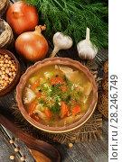 Купить «Pea soup on the table», фото № 28246749, снято 21 января 2018 г. (c) Надежда Мишкова / Фотобанк Лори