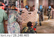 Купить «Teams on the paintball ground», фото № 28248465, снято 10 июля 2017 г. (c) Яков Филимонов / Фотобанк Лори