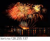 Купить «Celebratory bright firework», фото № 28255137, снято 8 августа 2015 г. (c) ElenArt / Фотобанк Лори