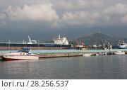 Купить «BATUMI, GEORGIA- AUGUST 14, 2014: View of Batumi sea port», фото № 28256537, снято 14 августа 2014 г. (c) Олег Хархан / Фотобанк Лори