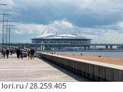Купить «Вид на стадион Санкт-Петербург арена и ЗСД из парка 300-летия Санкт-Петербурга», эксклюзивное фото № 28259405, снято 25 июня 2017 г. (c) Александр Щепин / Фотобанк Лори