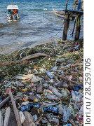 Купить «Marine plastic pollution washed up on Biak Island, West Papua, Indonesia.», фото № 28259705, снято 23 мая 2019 г. (c) Nature Picture Library / Фотобанк Лори