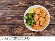 Купить «fried morsels of veal brain and salad», фото № 28260345, снято 28 марта 2018 г. (c) Oksana Zh / Фотобанк Лори