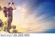 Купить «soldier with backpack looking to binocular», фото № 28260985, снято 14 августа 2014 г. (c) Syda Productions / Фотобанк Лори