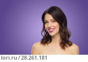 Купить «beautiful woman with lipstick over ultra violet», фото № 28261181, снято 5 января 2018 г. (c) Syda Productions / Фотобанк Лори
