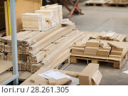 Купить «wooden boards or fibreboards at woodworking plant», фото № 28261305, снято 10 ноября 2017 г. (c) Syda Productions / Фотобанк Лори