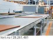 Купить «chipboards on conveyer at furniture factory», фото № 28261481, снято 10 ноября 2017 г. (c) Syda Productions / Фотобанк Лори