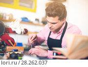 Купить «Joiner working in workshop», фото № 28262037, снято 8 апреля 2017 г. (c) Яков Филимонов / Фотобанк Лори