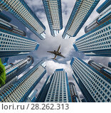 Купить «Plane encircled by buildings», фото № 28262313, снято 23 января 2019 г. (c) Яков Филимонов / Фотобанк Лори