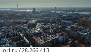 Купить «Bridge Viaduct road traffic machine Drone flight around city center train station daugava river», видеоролик № 28266413, снято 31 января 2018 г. (c) Aleksejs Bergmanis / Фотобанк Лори